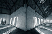 An empty desolate industrial building inside — Stock Photo