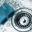 A stainless steel kitchen sink drain — Stock Photo #41276711