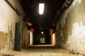 Old industrial building, basement with little light — Stock Photo