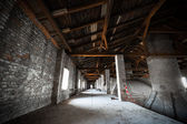 Old desolate brewery attic of his, his chimneys — Stock Photo