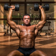Stock Photo: Male bodybuilder doing shoulder press whit dumbbell