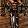 Stock Photo: Male bodybuilder using the elliptical machine