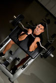 Fitness Trainer Doing Heavy Barbell Exercise — Stock Photo