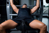 Weightlifter on Bench press — Stock Photo