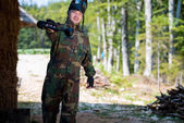 Players in paintball prepare for fight — Foto de Stock