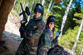 Paintball players posing to the camera — Stock Photo