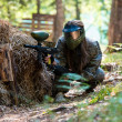 Paintball player Lying Down — Stockfoto