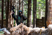 Paintball player lost his game — Stock Photo