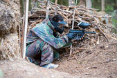 Paintball Players Hiding — Stock Photo