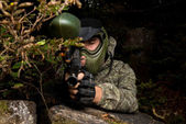 Paintball sniper ready for shooting — Stock Photo