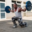 Gym Workout with Barbell Lunge — Stock Photo