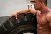 Bodybuilder Resting After Crossfit training — Stock Photo