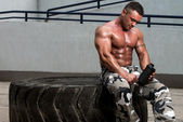 Bodybuilder with Protein Shake — Stock Photo