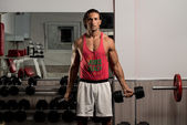 Man Lifting Dumbbell In Gym — Stock Photo