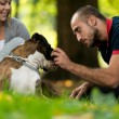 Happy Couple With German Boxer — Stock Photo
