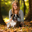 Close-Up Of A Young Women With Her Dog — Stock Photo
