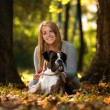 Women And Dog Outdoor — Stock Photo