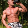 Bodybuilder Resting In Nature — Stock Photo