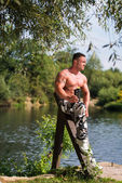 Man Resting And Holding Protein Shake — Stok fotoğraf