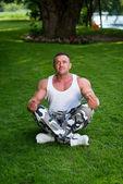 Bodybuilder Practicing Yoga — Stock Photo