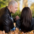 Beautiful Couple Enjoying In The Beautiful Autumn Day — Stock Photo