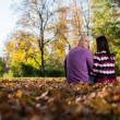 Young Happy Couple Outdoors View From Behind — Stock Photo