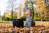 Beautiful Couple Enjoying In The Beautiful Autumn Day — Stock Photo