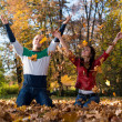 Young Couple Throwing Fall Leaves — Stock Photo #35155653