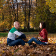 Beautiful Couple In The Heap Of Leaves — Stock Photo