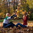 Young Couple Throwing Fall Leaves — Stock Photo #35157069