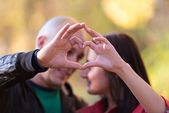 Couple Forming A Heart — Stock Photo