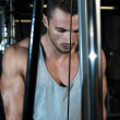 Triceps Pulldown Workout — 图库照片