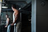 Triceps Pulldown Workout — Stock Photo