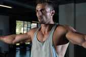 Shoulders Cable Lateral Raise Exercise — Stock Photo