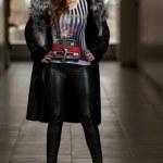 Fashion Model Wearing Long Fur Coat — Stock Photo #37544947