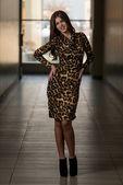 Beautiful Woman Wearing A Dress With Animal Print — Stock fotografie