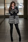 Nice Pretty Girl In Winter Jacket — Stock fotografie