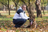 Adult Man With His Dog — Stock Photo