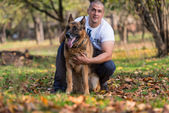 Man With Dog German Shepherd — Stock Photo