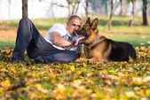 Man And His Dog German Shepherd — Stock Photo