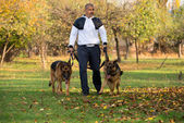 Adult Man Walking Outdoors With His Dogs German Shepherd — Stock Photo