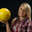 Stock Photo: Women Holding Bowling Ball