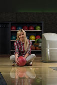 Cheerful Young Women Holding Bowling Ball — Stock Photo