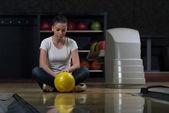 Sad Girl Upset About Bowling Play — Stock Photo