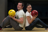 Couple In A Bowling Alley — Stock Photo