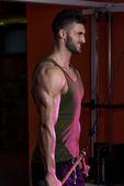 Muscular Man Exercising Triceps — Stock Photo