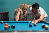 Couple Playing Billiards — Stock Photo