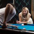 Couple Playing Pool At The Bar — Stock Photo