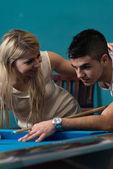 Couple Playing Billard — Stock Photo