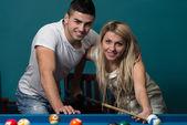 Beautiful Couple Playing Pool — Stock Photo